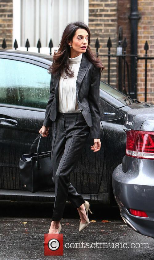 Amal Clooney arrives at her London office