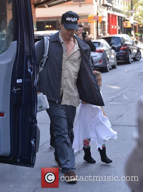 Matthew McConaughey with his family in New York...