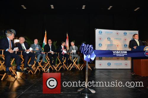 Wilfredo 'willy' Gort, Commissioner Chair Cra Board Member & City Of Miami Com., Tomas P. Regalado, Mayor City Of Miami, Chris Cooney, Ceo Eue/screen Gems Studios, Pierluigi Gazzolo, President, Viacom International Media Networks, The Americas & Evp, Nickelodean International, Carlos Lopez- Cantera, Lt. Goveneor State Of Florida, Marc D. Sarnoff, Cra Board Chair & City Of Miami Com., Pieter Bockweg Executive Director and Miami Omni Cra 3