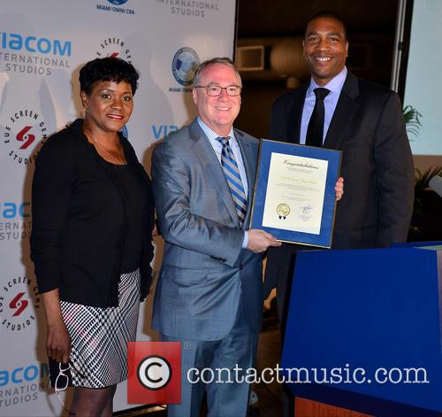 Audrey M. Edmonson Commisioner, Chris Cooney, Ceo Eue/screen Gems Studios and Russell Benford Deputy Mayor-miami Dade County 1