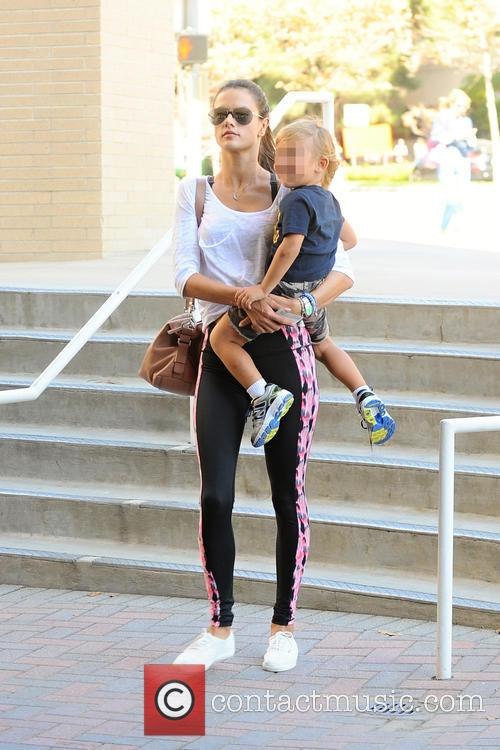 Alessandra Ambrosio takes her son to a doctor's...