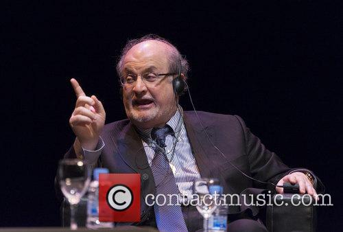 Writer Salman Rushdie attends a presentation discussing his...