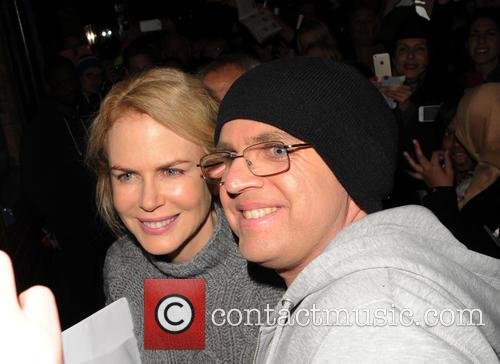 Nicole Kidman leaves the Noël Coward Theatre after...