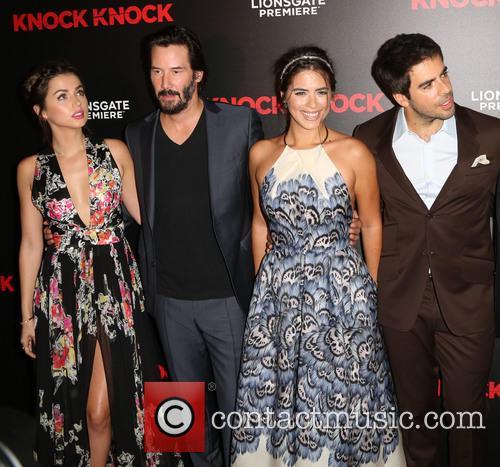 Ana De Armas, Keanu Reeves, Lorenza Izzo and Eli Roth 2
