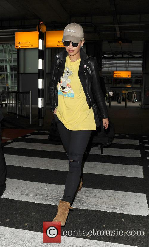 Rita Ora arriving at Heathrow Airport, having flown...