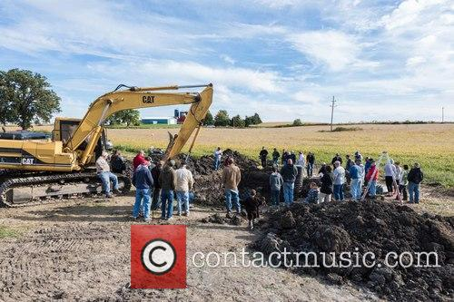 Excavation Site In A Farmer's Field In Lima Township and Southwest Of Ann Arbor. A Crowd Of Locals Gathered To Watch As News Of The Discovery Spread. 1