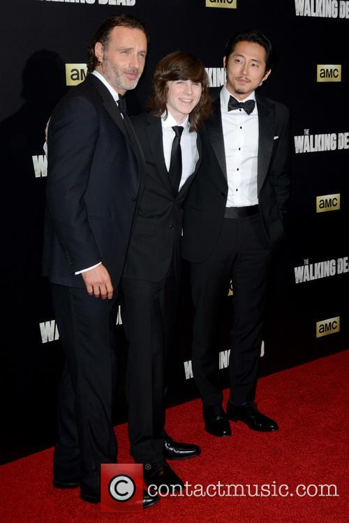 Andrew Lincoln, Chandler Riggs and Steven Yeun 1