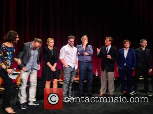 Moderator, Danny Boyle, Kate Winslet, Seth Rogen, Jeff Daniels, Aaron Sorkin, Daniel Pemberton and Elliot Graham 2
