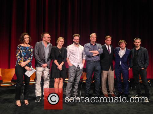 Moderator, Danny Boyle, Kate Winslet, Seth Rogen, Jeff Daniels, Aaron Sorkin, Daniel Pemberton and Elliot Graham 4