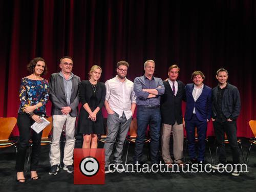 Moderator, Danny Boyle, Kate Winslet, Seth Rogen, Jeff Daniels, Aaron Sorkin, Daniel Pemberton and Elliot Graham 5
