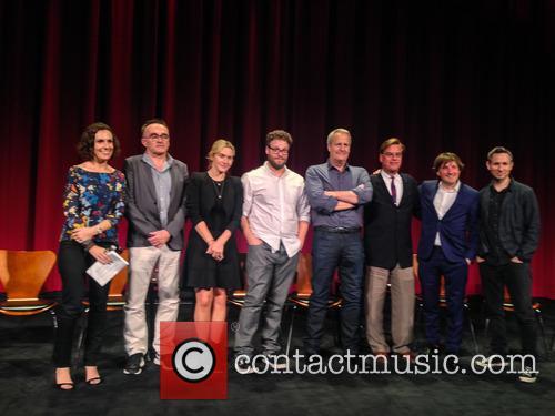 Moderator, Danny Boyle, Kate Winslet, Seth Rogen, Jeff Daniels, Aaron Sorkin, Daniel Pemberton and Elliot Graham 1