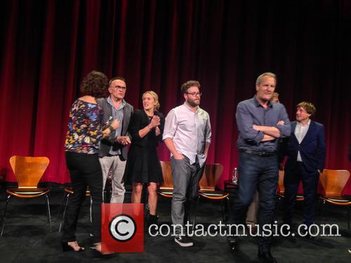 Moderator, Danny Boyle, Kate Winslet, Seth Rogen, Jeff Daniels, Aaron Sorkin, Daniel Pemberton and Elliot Graham 6