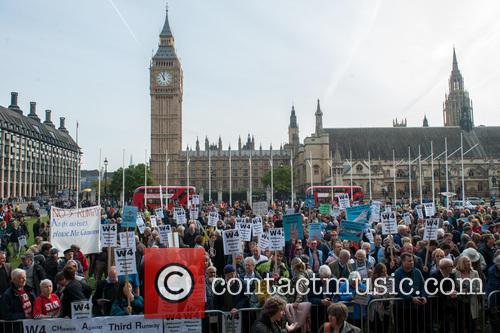 No Heathrow Third Runway protest at Parliament Square.