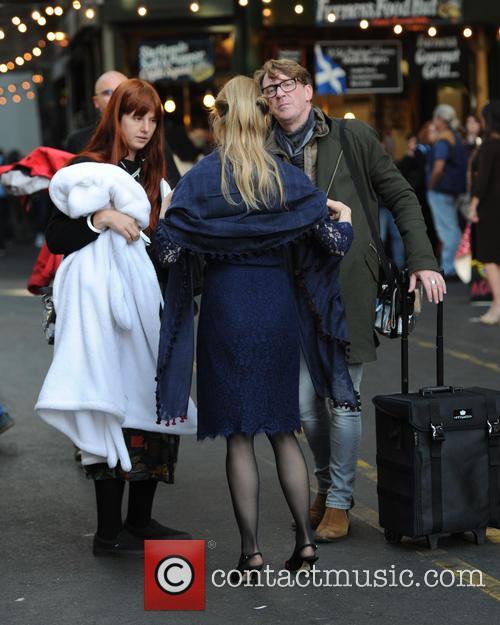 Renee Zellweger on set of Bridget Jones in...