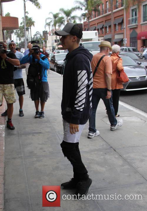 Justin Bieber arrives at a medical building in...