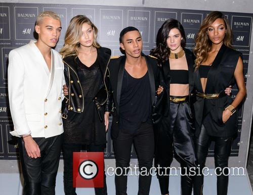 Gigi Hadid, Olivier Rousteing, Kendall Jenner and Jourdan Dunn 2