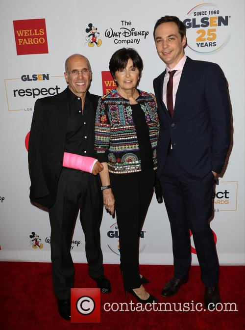Jeffrey Katzenberg, Marilyn Katzenberg and Jim Parsons 2