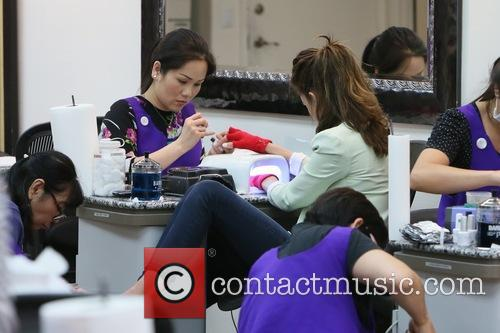 Elizabeth Chambers gets her nails done at Beverly...