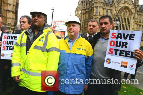 Steel workers protest outside Parliament over the crisis...