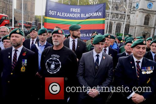 Supporters of Sgt Alexander Blackman hold a rally...