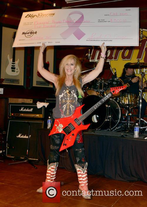 Lita Ford performs for a Pinktober fundraiser at...