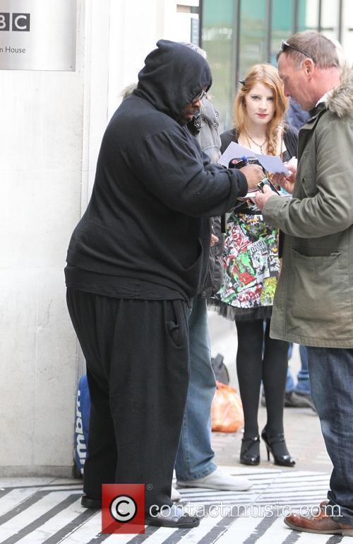 CeeLo Green signs autographs outside BBC Radio 2