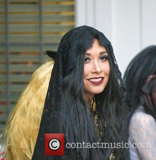 Myleene Klass goes trick or treating with her...