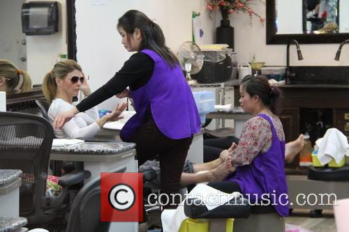Lori Loughlin gets a manicure and pedicure