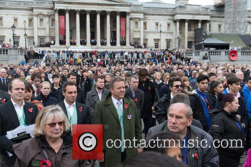 A two-minute silence observed by crowds on Armistice...