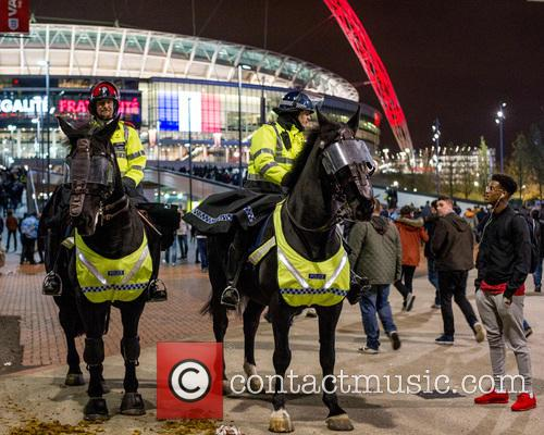 Metropolitan Police on early patrols around Wembley Stadium.