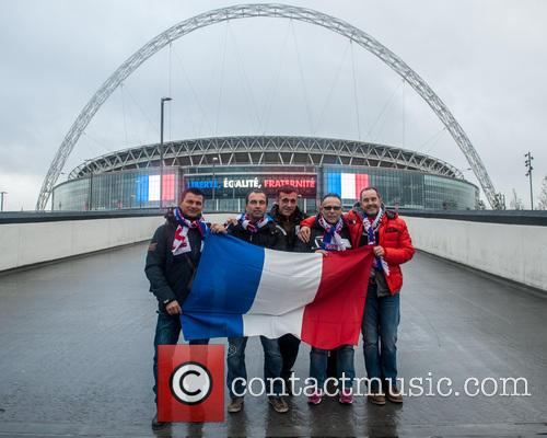 First French fans arrive at Wembley Stadium.