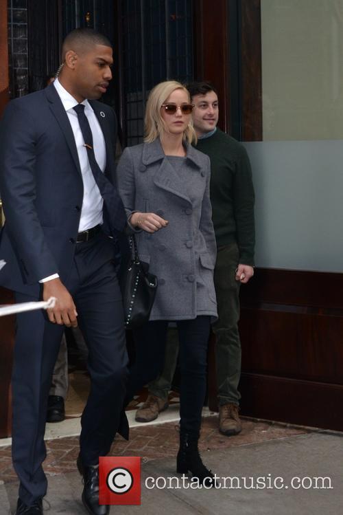 Jennifer Lawrence leaves her hotel