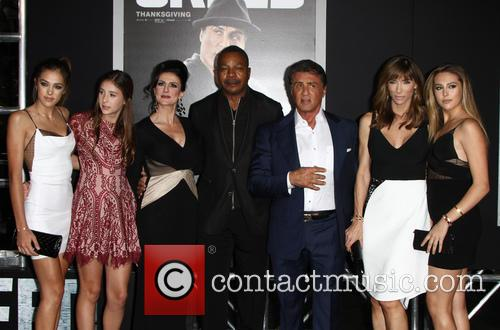 Sistine Rose Stallone, Sophia Rose Stallone, Scarlet Rose Stallone, Carl Weathers and Sylvester Stallone 5