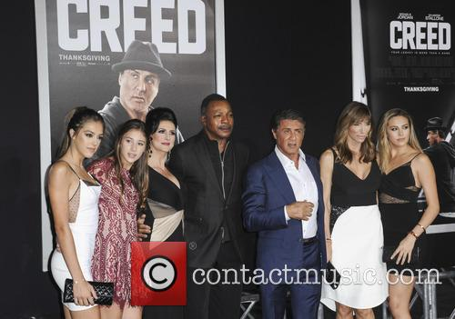 Sistine Rose Stallone, Sophia Rose Stallone, Scarlet Rose Stallone, Carl Weathers, Sylvester Stallone and Jennifer Flavin 1