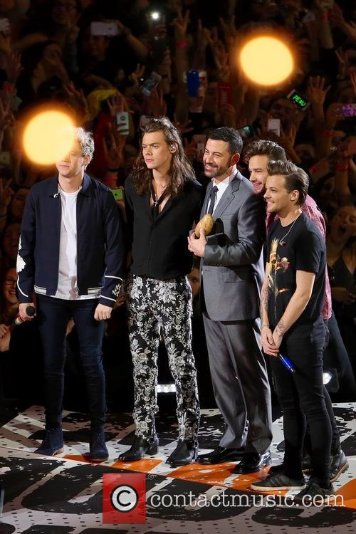Niall Horan, Harry Styles, Jimmy Kimmel, Liam Payne and Louis Tomlinson