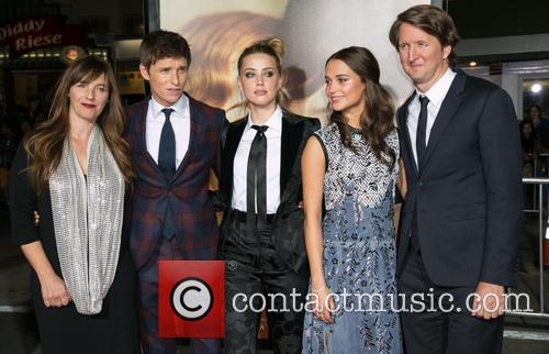 Guest, Eddie Redmayne, Amber Heard, Alicia Vikander and Tom Hooper 1