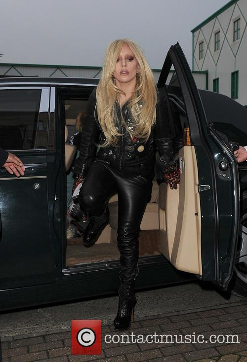 Lady Gaga arrives at a recording studio in...