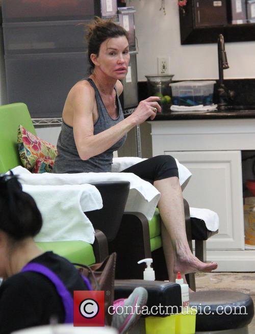Janice Dickinson wearing no makeup at a nail...