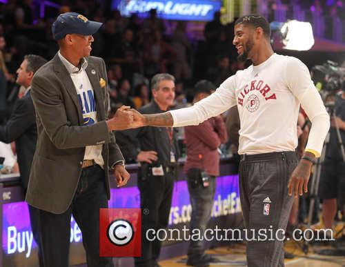 Celebrities watch the Los Angeles Lakers