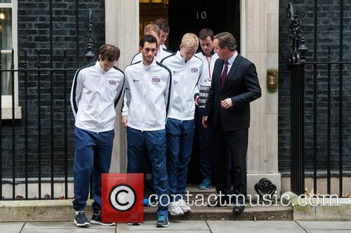 David Cameron, Andy Murray, Jamie Murray, Kyle Edmund, James Ward, Dominic Inglot, Leon Smith and Dan Evans 1