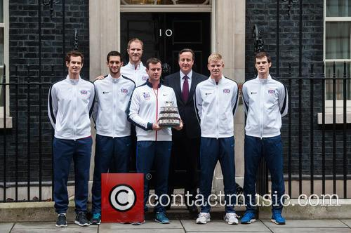 David Cameron, Andy Murray, Jamie Murray, Kyle Edmund, James Ward, Dominic Inglot, Leon Smith and Dan Evans 2