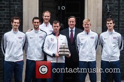 David Cameron, Andy Murray, Jamie Murray, Kyle Edmund, James Ward, Dominic Inglot, Leon Smith and Dan Evans 3