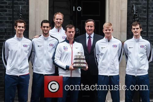 David Cameron, Andy Murray, Jamie Murray, Kyle Edmund, James Ward, Dominic Inglot, Leon Smith and Dan Evans 4
