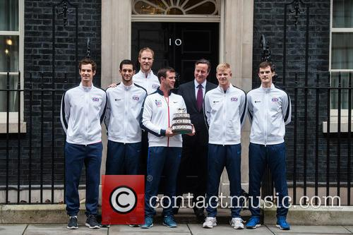 David Cameron, Andy Murray, Jamie Murray, Kyle Edmund, James Ward, Dominic Inglot, Leon Smith and Dan Evans 5