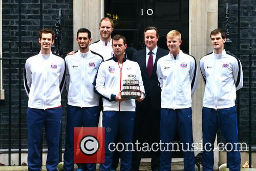 Davis Cup Trophy Team and David Cameron 2
