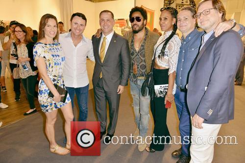 Hilary Swank, Guest, City Of Miami Beach Mayor Philip Levine, Lenny Kravitz, Barbara Becker and Jason Binn 2