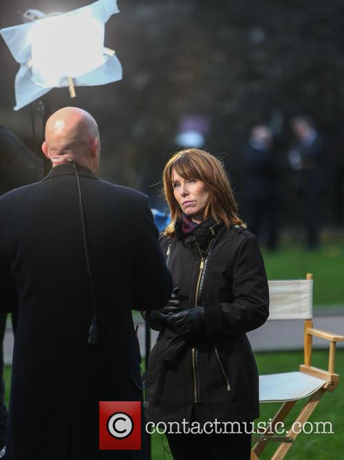 Kay Burley gives a live broadcast from Parliament
