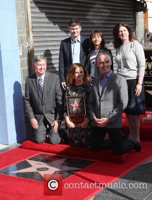 Leron Gubler, Mike Schur, Rashida Jones, Maureen Schultz, Amy Poehler and Mitch O'farrell 2