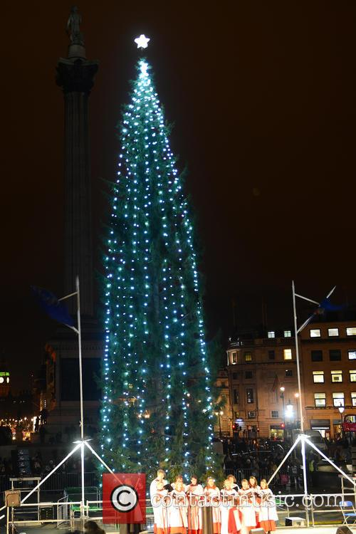Trafalgar Square Christmas tree lights switch on