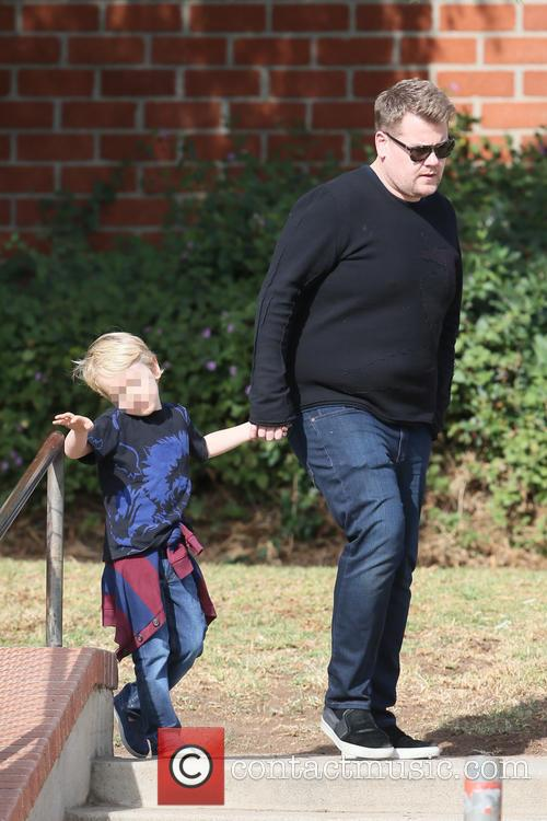 James Corden takes his son Max at the...